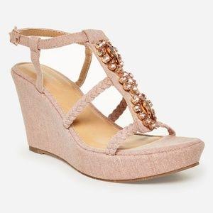 10W Embellished Pink Wedge Sandal NWT